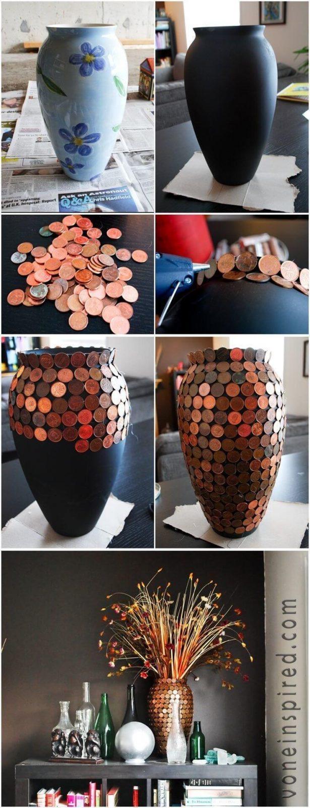 Blumenvase mit Münzen bekleben - DIY Bastelideen