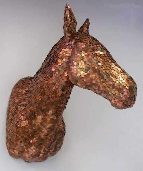 Wanddeko aus Euro Münzen - Pferde Skulptur