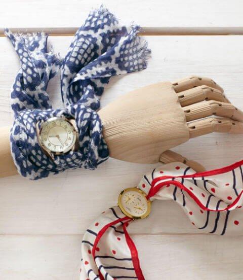 Armbanduhr aus schönen Tüchern basteln - kreative Geschenke