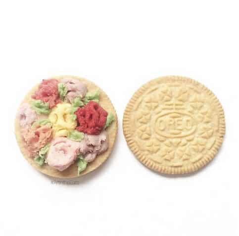Blumige Kekse - Kekse mit bunten Farben bemalen