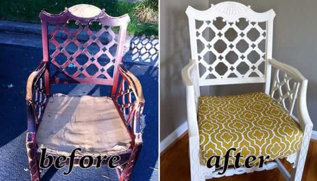 Stuhl mit neuem Polster und neuer Farbe veresehen - Möbel-Deko Ideen