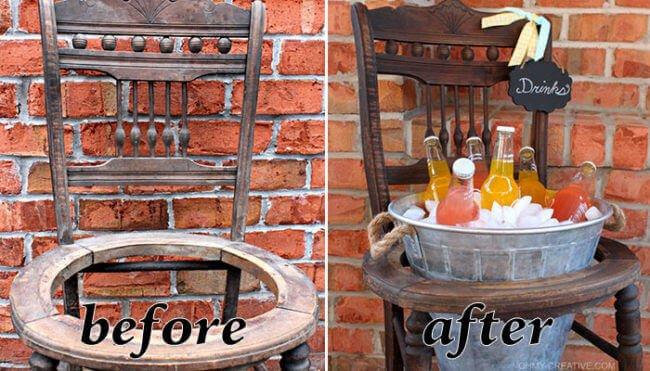 Stuhl zum Getränkehalter umbauen - DIY Rustikale Möbel selber machen