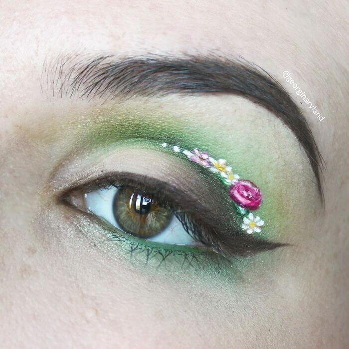 Blumen im Augenlid - Frühling-Makeup