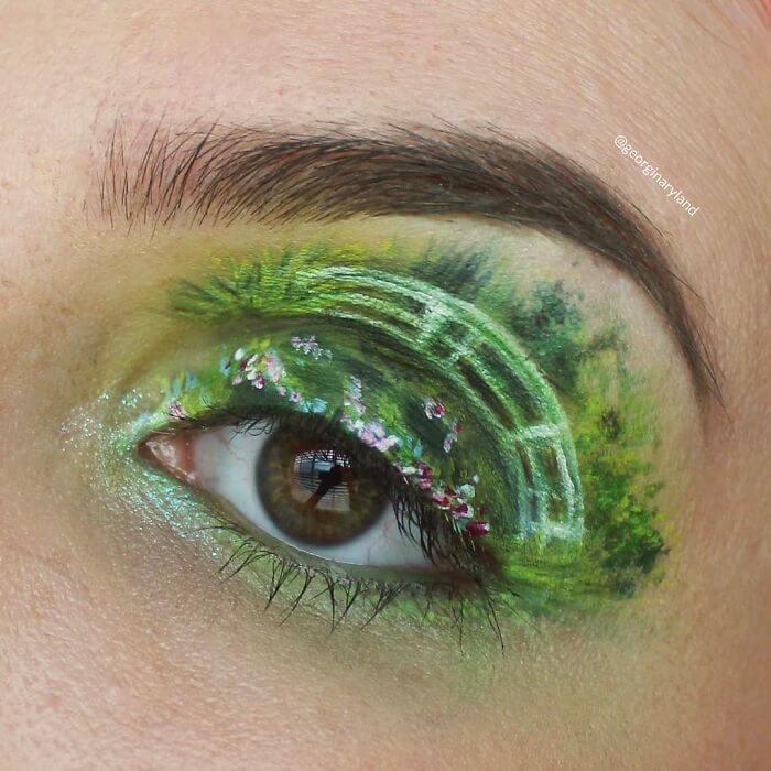 Monet Kunstwerk-Augenlider schminken