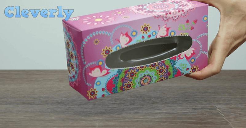 Taschentuchbox wiederverwenden-Trick um Plastiktüten zu organisieren