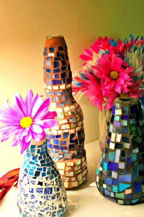 DIY Dekoidee-Teetasse-Scherben wiederverwenden-Vasen dekorieren