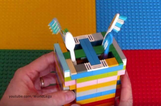 Zahnbürstenbecher aus Lego basteln-DIY Wohnprojekte