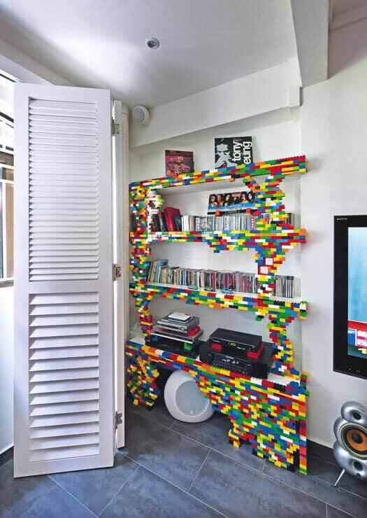 Regal im Kinderzimmer mit Lego verschönern - DIY Wohndeko Ideen