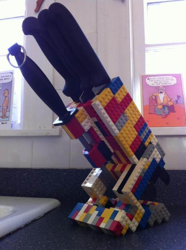 Messerhalter aus Lego basteln - Legosteine kreativ nutzen