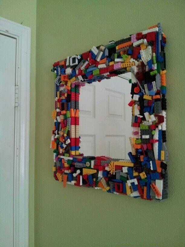 Lego als Wohndeko nutzen - Spiegel mit Legosteinen verschönern