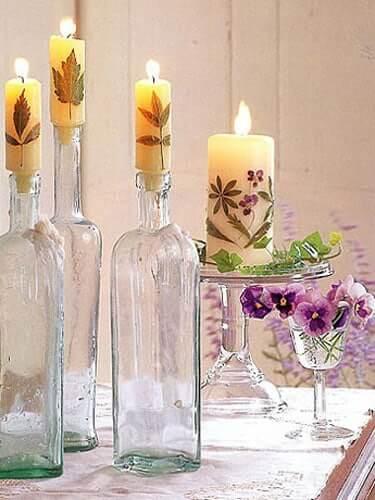 Kerzen selber machen aus getrockneten Blumen-Wohndeko Bastel-Ideen