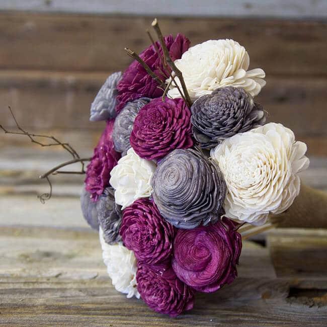 ECO Blumen basteln - schöner Strauß mit Weiß-, Lila-, und Grautönen