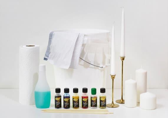 Materialien für die Bastelidee mit Kerzen