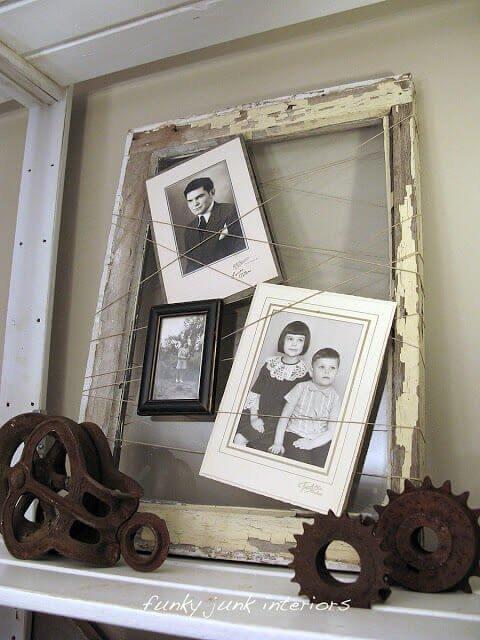 rustikale Wanddeko selber basteln - Bilder im Fensterrahmen
