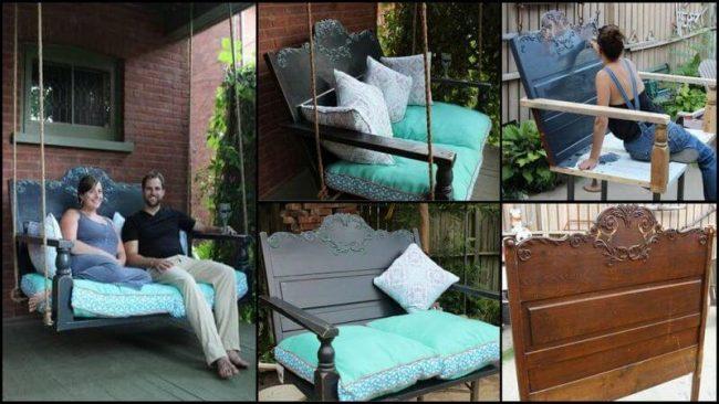 Schaukelbett aus einem Kopfende selber bauen - DIY Garten-Projekte