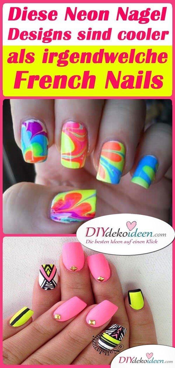 Diese Neon Nagel Designs sind cooler als irgendwelche French Nails