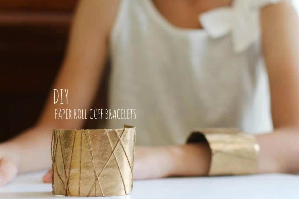 Schmuck aus Papierrollen basteln - DIY Armband Ideen