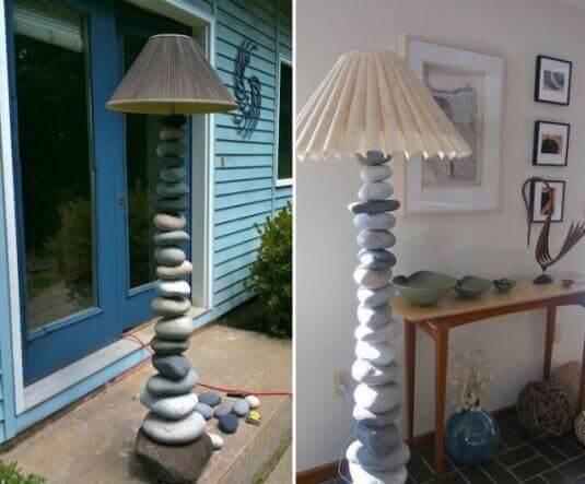 Stehlampe mit Steinen verzieren - DIY Lampe