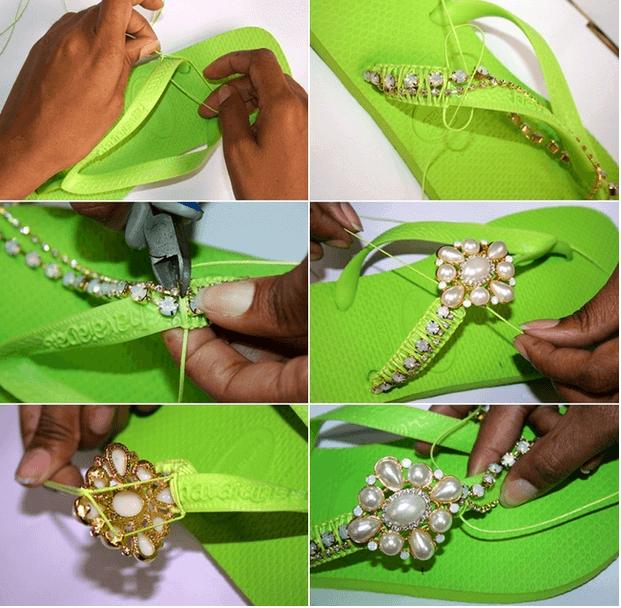 Designer-Flipflops mit perlen und glitzernden Accessoires
