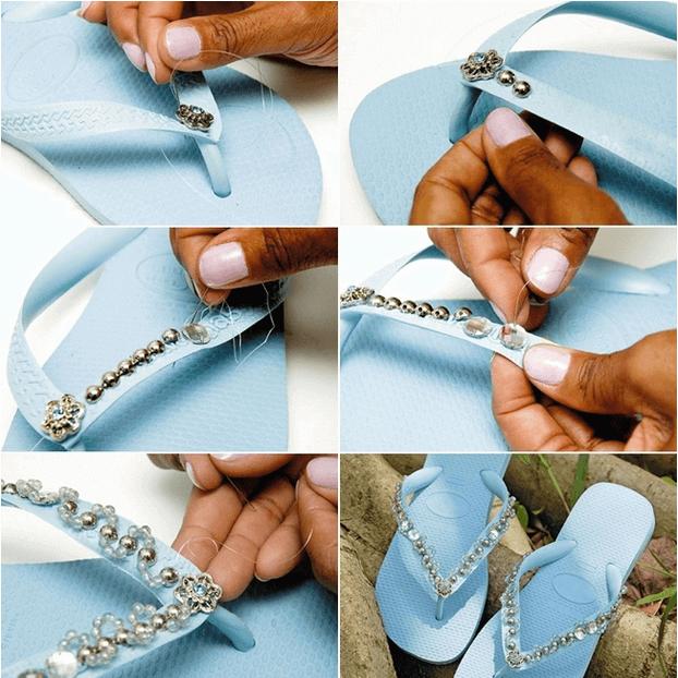Perlen und Strasssteinen-Deko für Flipflops