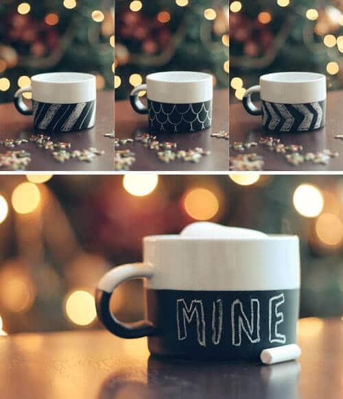 Tasse mit Tafelfarbe beschichten - lustige Geschenk-Ideen