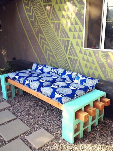 Sitzbank basteln-DIY Gartendeko Ideen-Gartengestaltung-Dekoidee