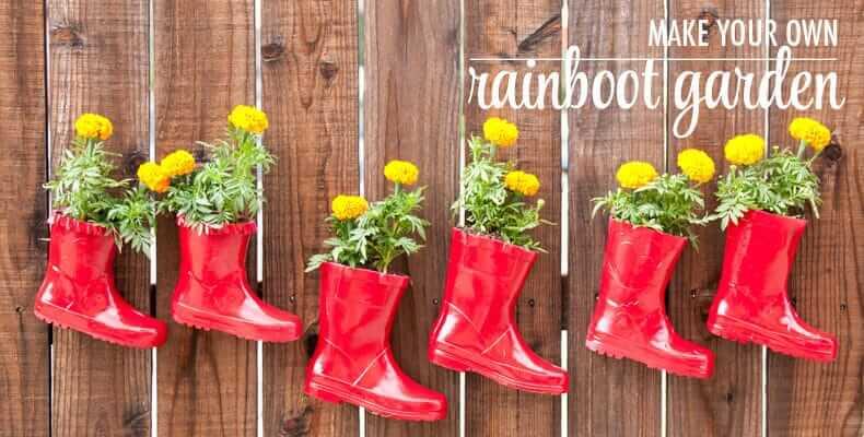 Regenstiefeln dekorieren-Gartendeko Bastelideen-Gartengestaltung