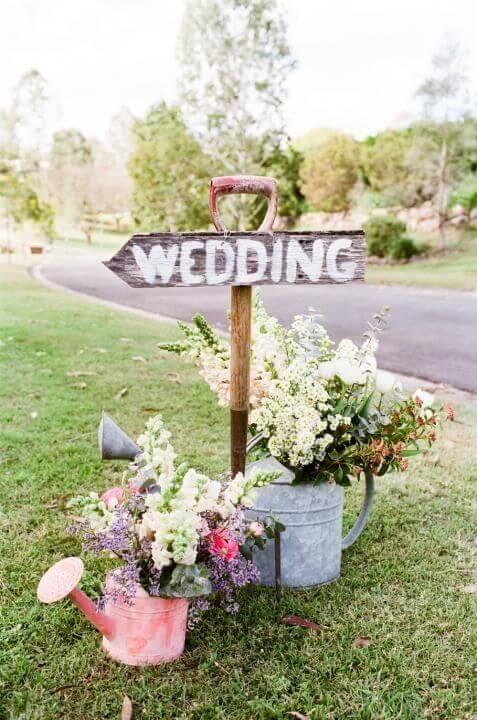 Hochzeitsempfang Schild vintage-Style-Hochzeitsdekoration-Blumen, Schaufel, Gießkanne
