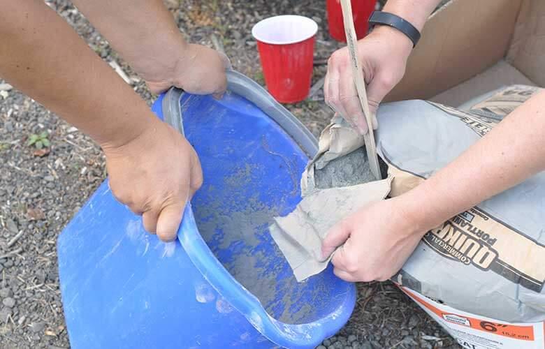 Zement für die Dekoration verwenden