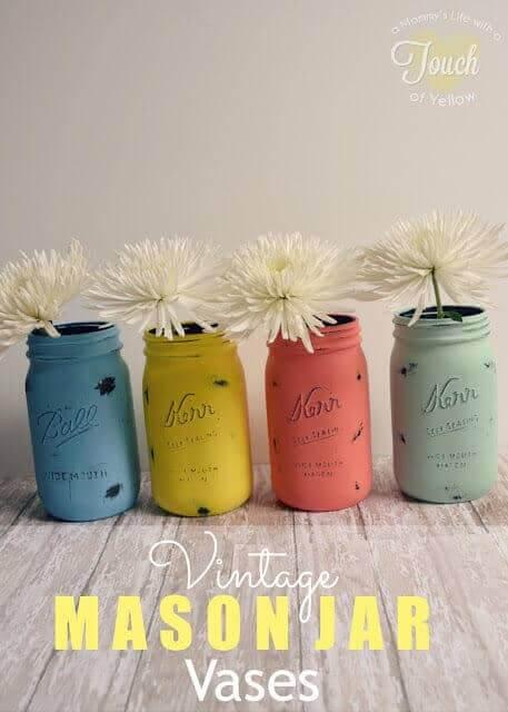 DIY Bastelideen mit Einweckgläsern - rustikale Vase selber machen