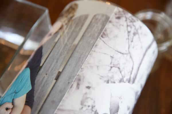 Foto ans Kerzenglas kleben - DIY Bastelprojekte