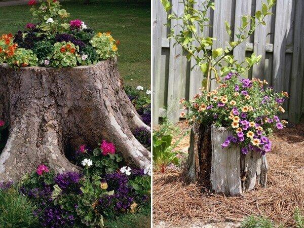 Gartengestaltung mit Blumen und Baumstämmen-Garten dekorieren