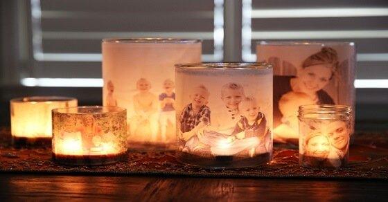 Wundervolle Geschenkidee: Leuchtende Teelichtgläser mit euren Fotos