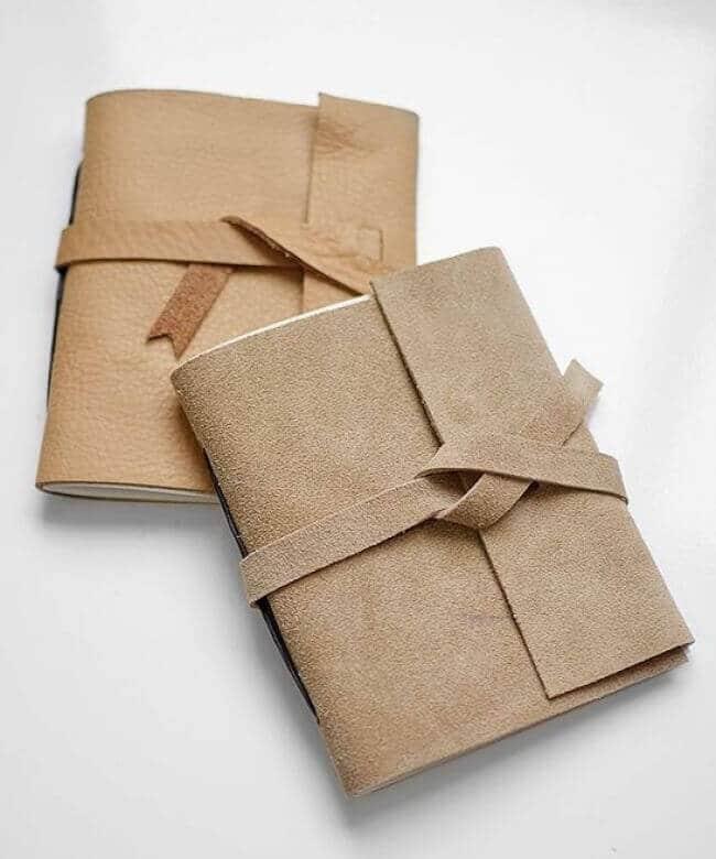 DIY Notizbuch mit Leder - Geschenkidee für Freundinnen