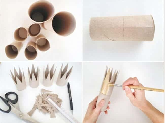 Kronen aus Papierrollen basteln - DIY Bastelideen