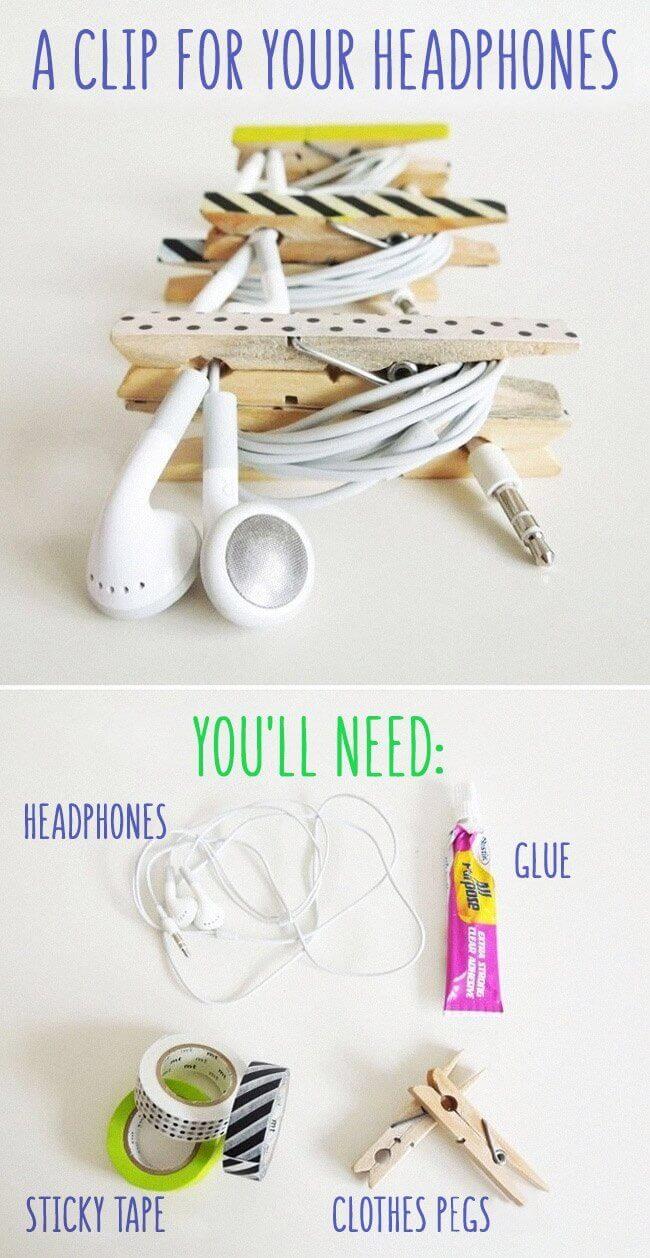 Wäscheklammer für Kopfhörer nutzen - Kabel organisieren