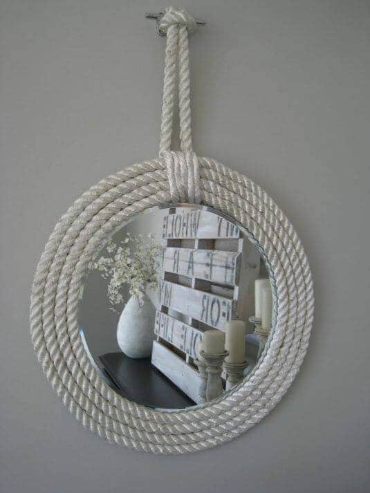 DIY Spiegel aus Schiffstau basteln - maritimes Wohndesign