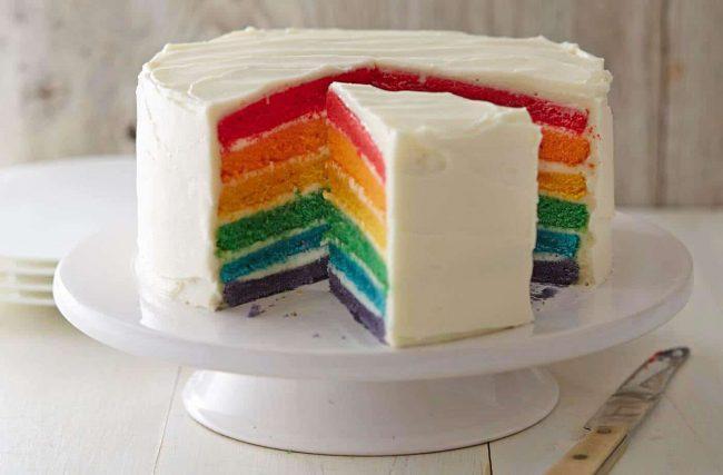 Regenbogentorte selber machen-extravagante Torte