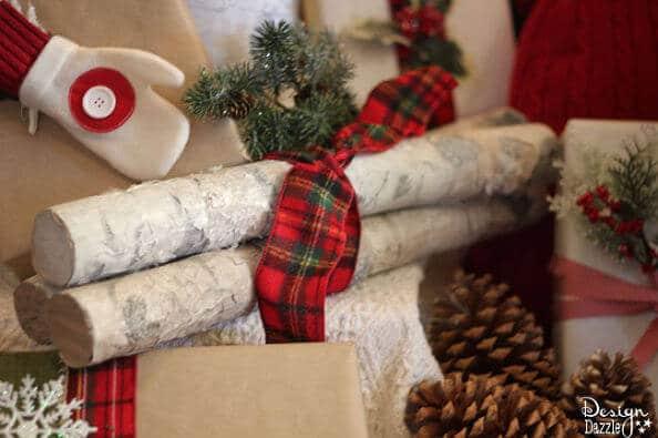 rustikale Weihnachtsdeko selber machen-DIY Bastelidee mit Schwimmnudeln