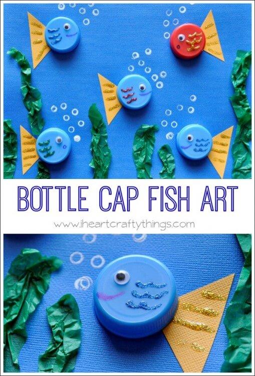 Fische basteln mit Kleinkindern- aus Papier und Flaschendeckel basteln