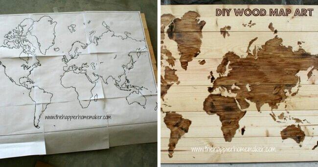 DIY rustikale Deko selber machen - Landkarte