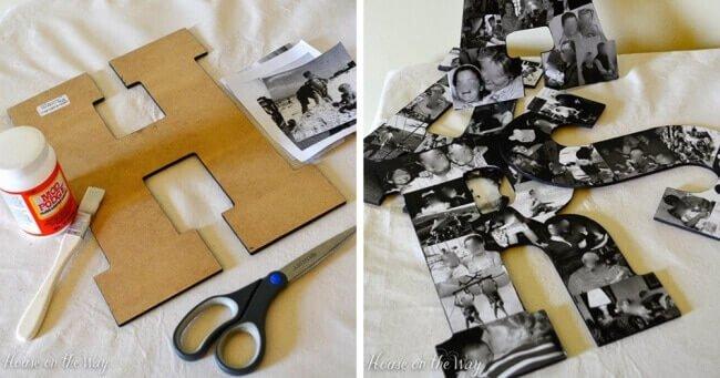 Deko mit Fotos - Buchstaben mit Bilder bekleben