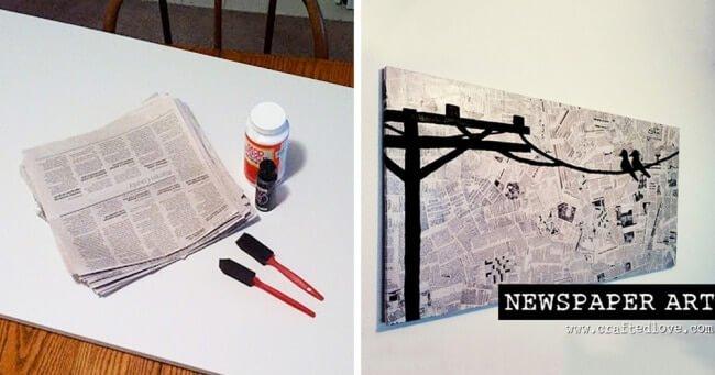 Leinwandbild mit Zeitungspapier basteln - kreative Wanddeko