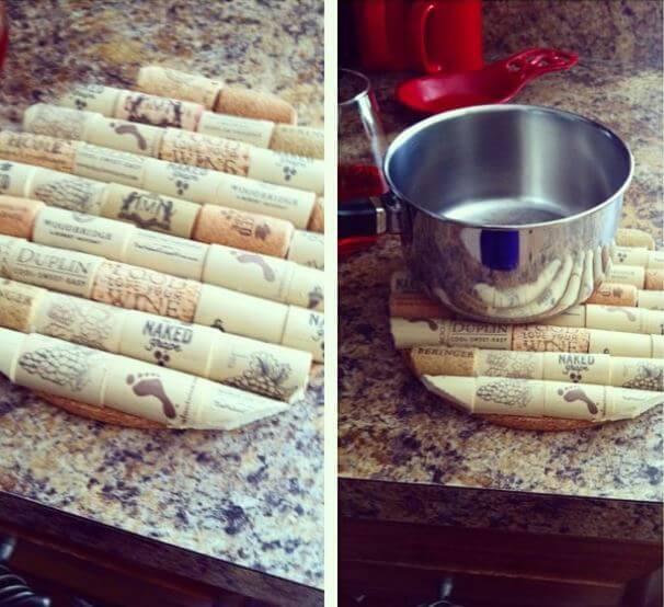 DIY Topfuntersetzer aus Weinkorken basteln
