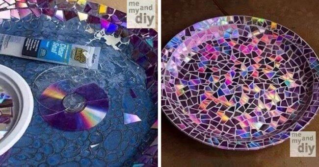 DIY Zimmerdeko-Ideen - Schale mit CDs verzieren