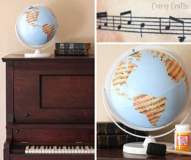 DIY Globus Deko mit Notenpapier verzieren