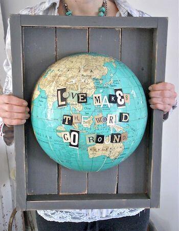 Bild mit Globen gestalten-DIY Wanddeko Idee