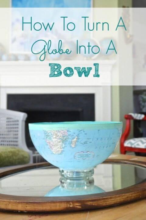 Schüsseln aus Globen basteln-DIY Deko Ideen mit Globen