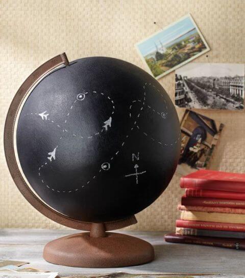 Globus mit Tafelfarbe bemalen-auf den Globus mit Kreide malen