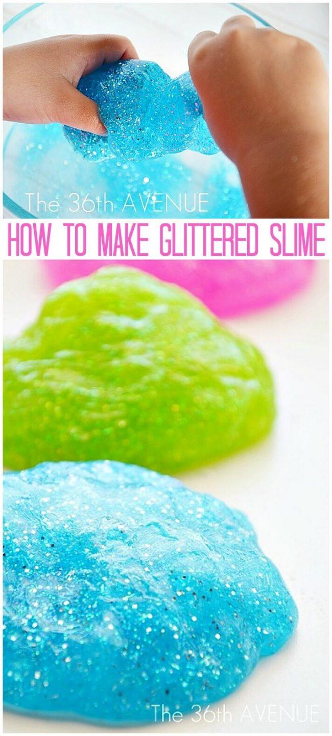 DIY Glitter Schleim - glänzende Schleim-Idee - Bastelprojekte für Kinder